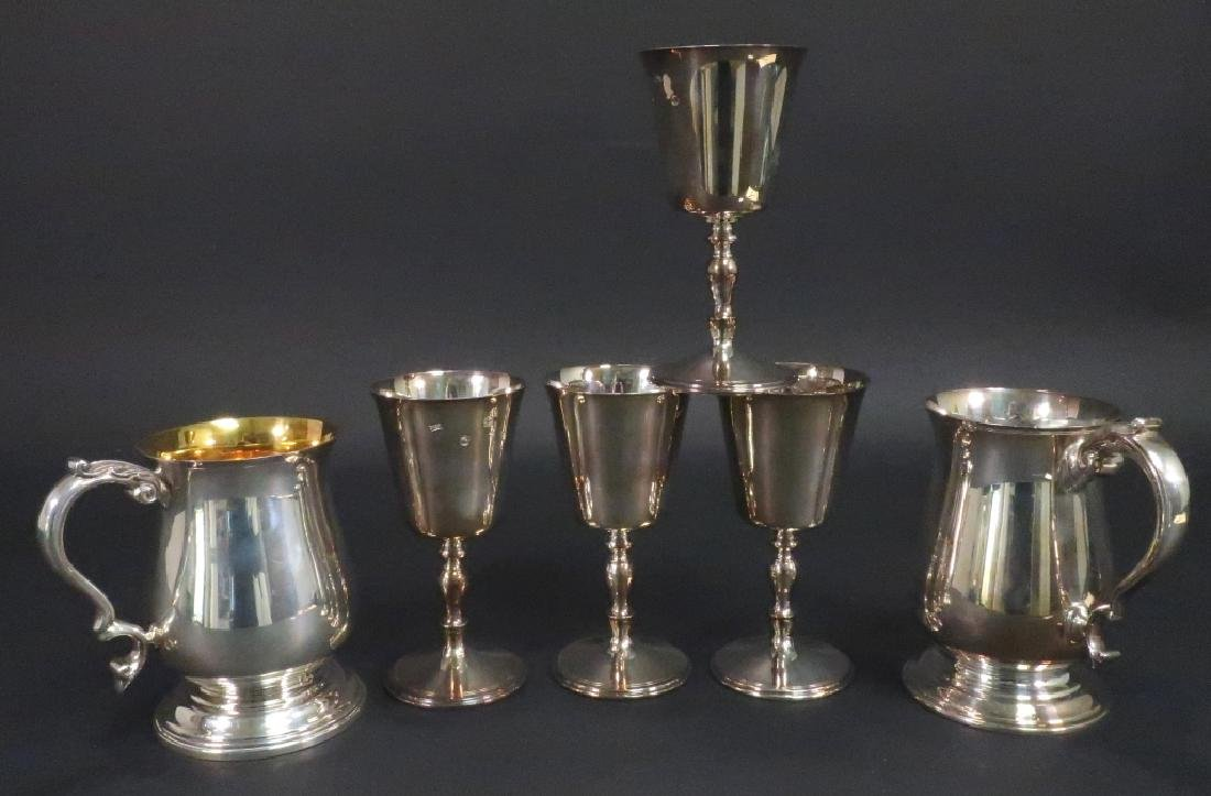 Six Sterling Silver Irish/British Tankards/Chalice