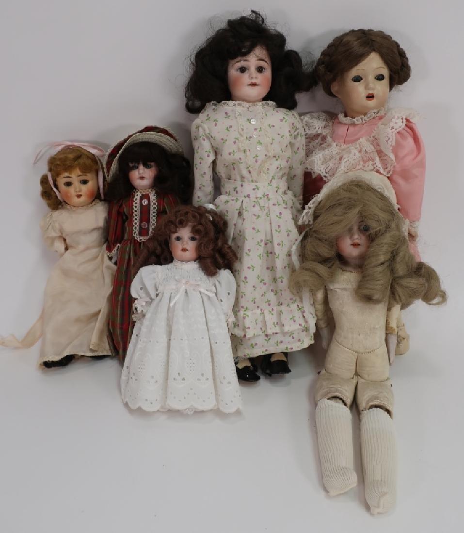 Grp.of 6 Eur./Am. Porcelain Head Dolls