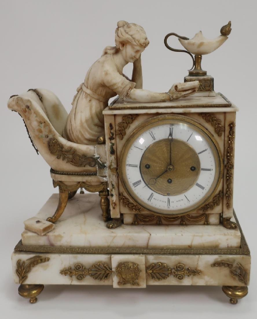 Austrian Marble Neoclassical Clock, 19th c., as is