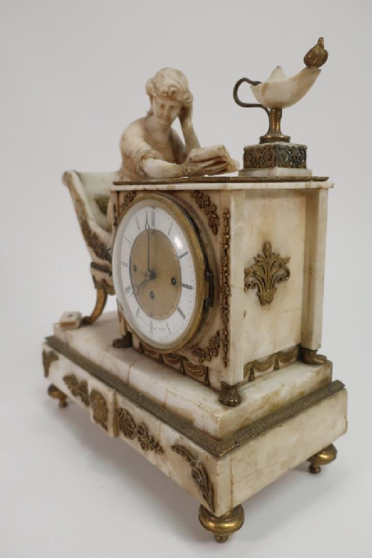 Austrian Marble Neoclassical Clock, 19th c., as is - 2