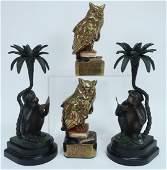 2 Pr MetalClad Bookends Monkeys and Owls