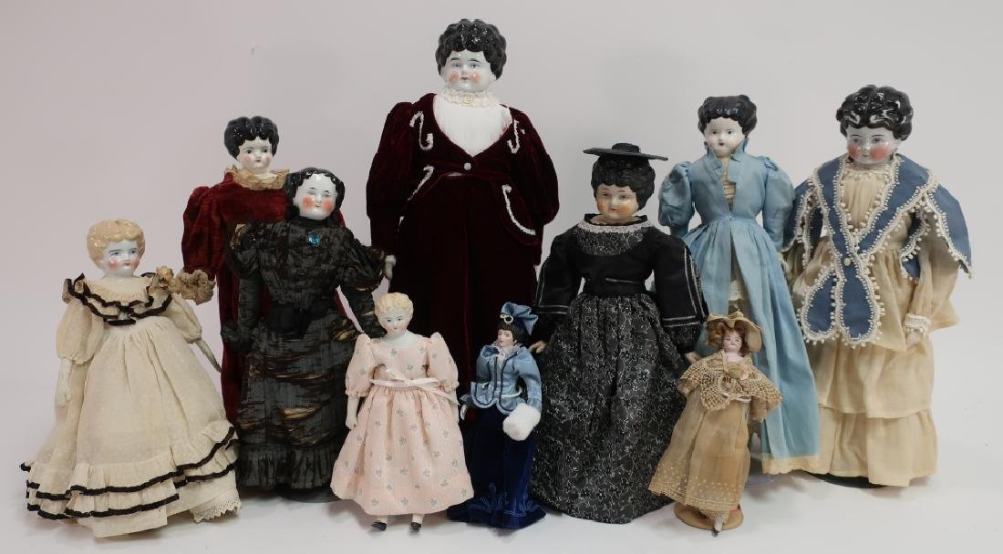 Lot of 9 China Head Dolls L.19-E.20th C.