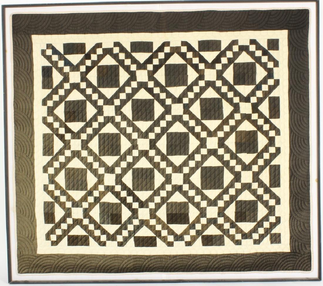 Large Vintage Black and White Framed Quilt
