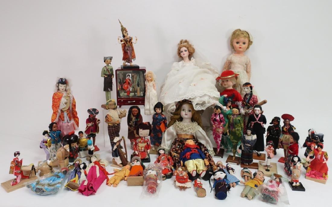 Lot of Mostly Asian/S. Am. Vintage Souvenir Dolls