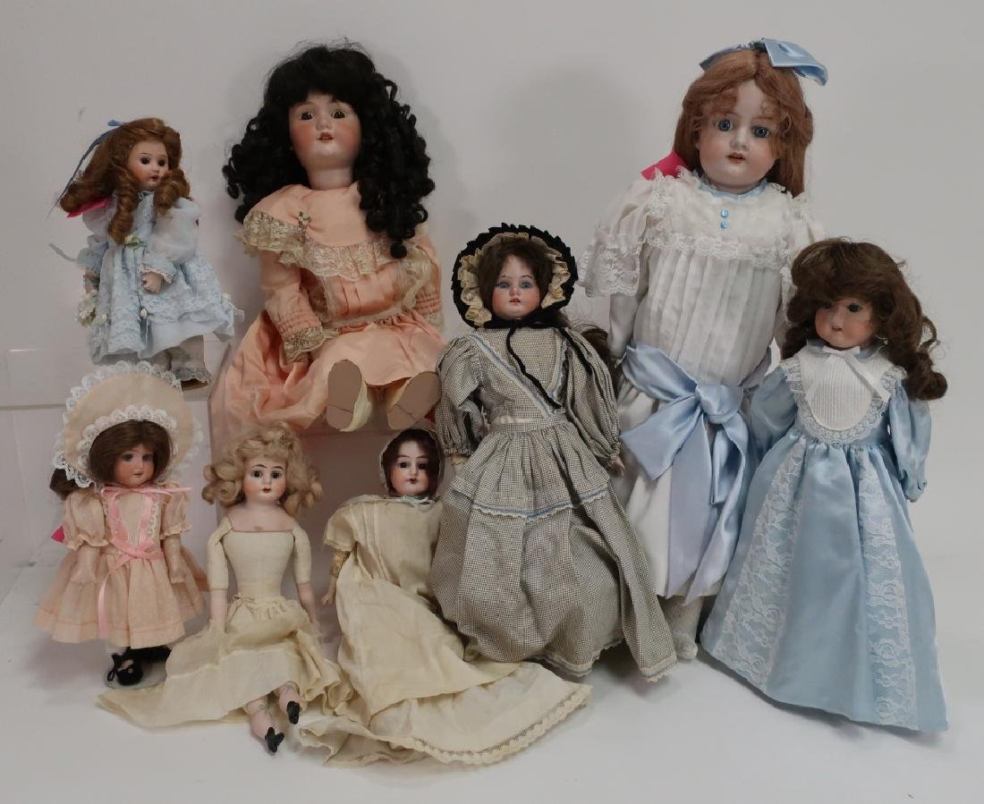 Grp. of 8 Mostly European Porcelain Head Dolls