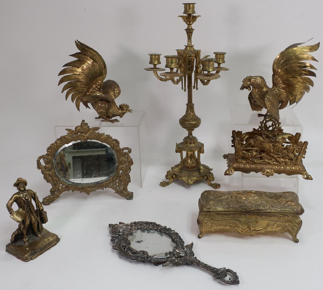 8 Mixed Metal Decorative Arts - Candelabrum, Birds