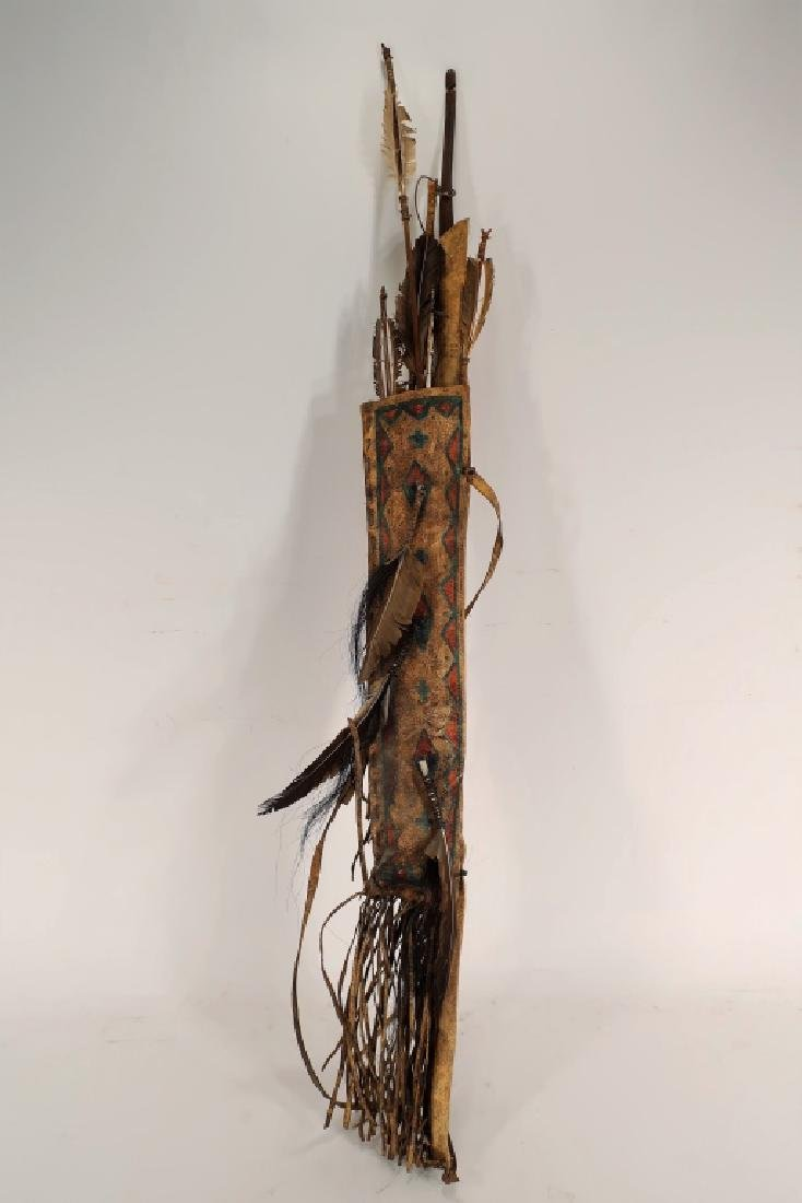 Plains Indian Bow and Arrow w/ Painted Quiver