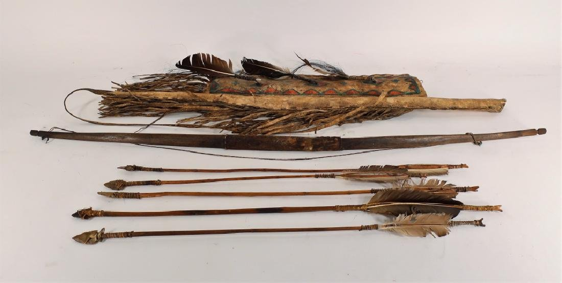 Plains Indian Bow and Arrow w/ Painted Quiver - 2