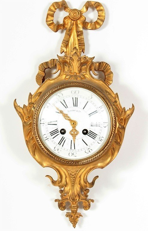 Tiffany & Co French Gilt Bronze Cartel Clock