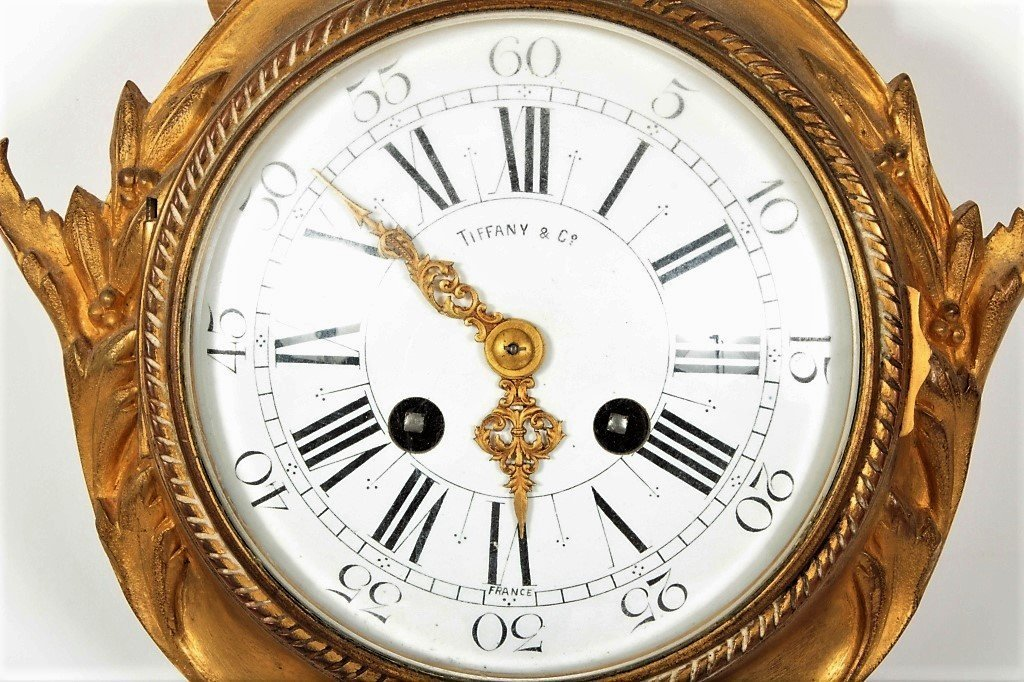 Tiffany & Co French Gilt Bronze Cartel Clock - 2