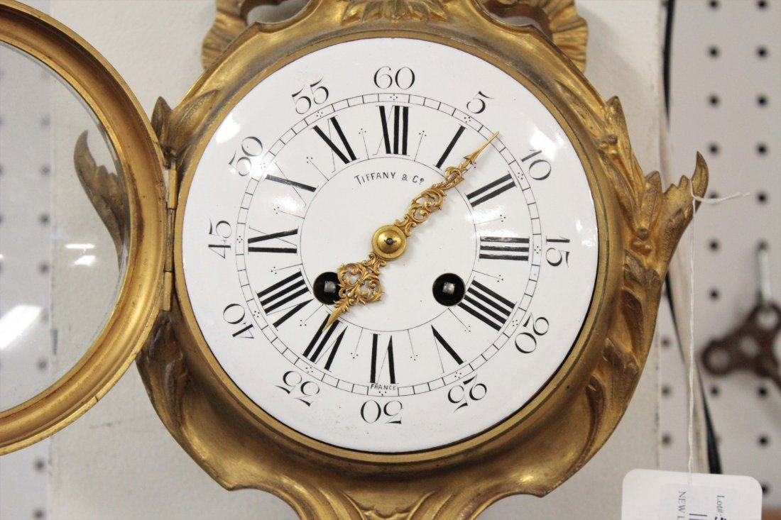 Tiffany & Co French Gilt Bronze Cartel Clock - 5