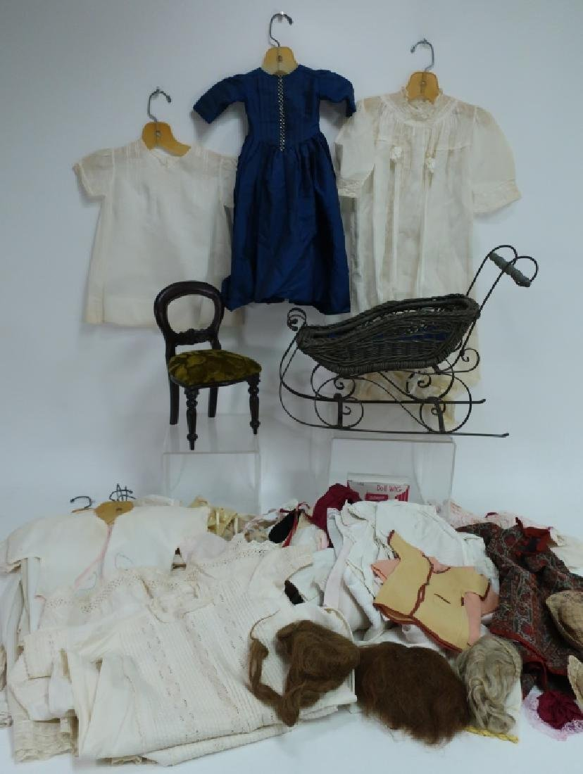 Large Lot of Doll Clothing, Dresses, Shoes, Wigs