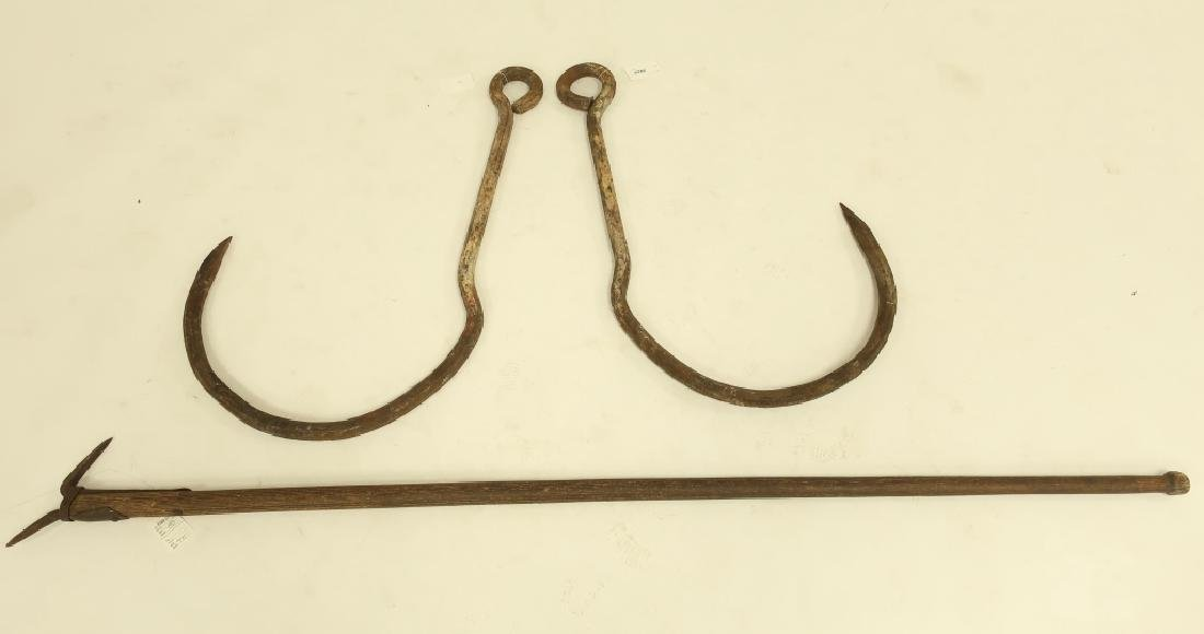 Iron Rustic Tools: Ice Pike and Pr. V. Large Hooks