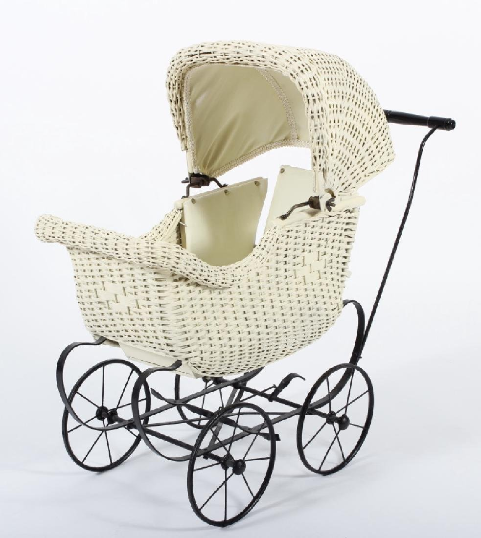 Victorian Canopied Antique Doll Stroller Pram
