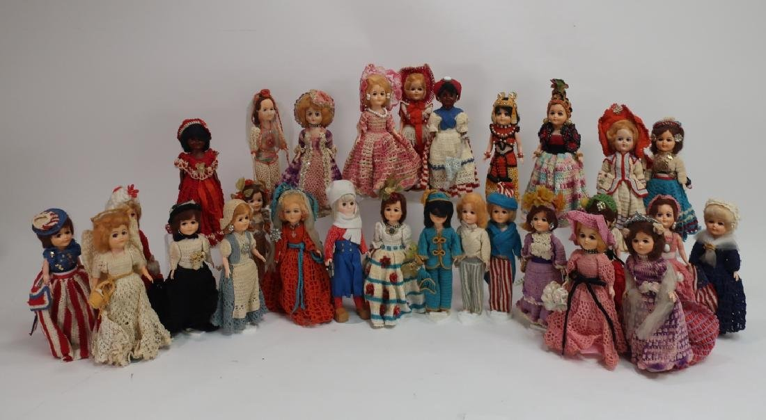Group of 28 Vintage Crochet Costumed Dolls