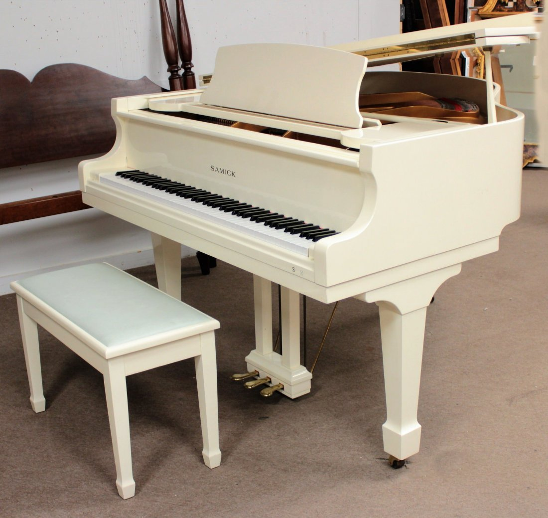 Samick White Lacquered Baby Grand Piano with Bench