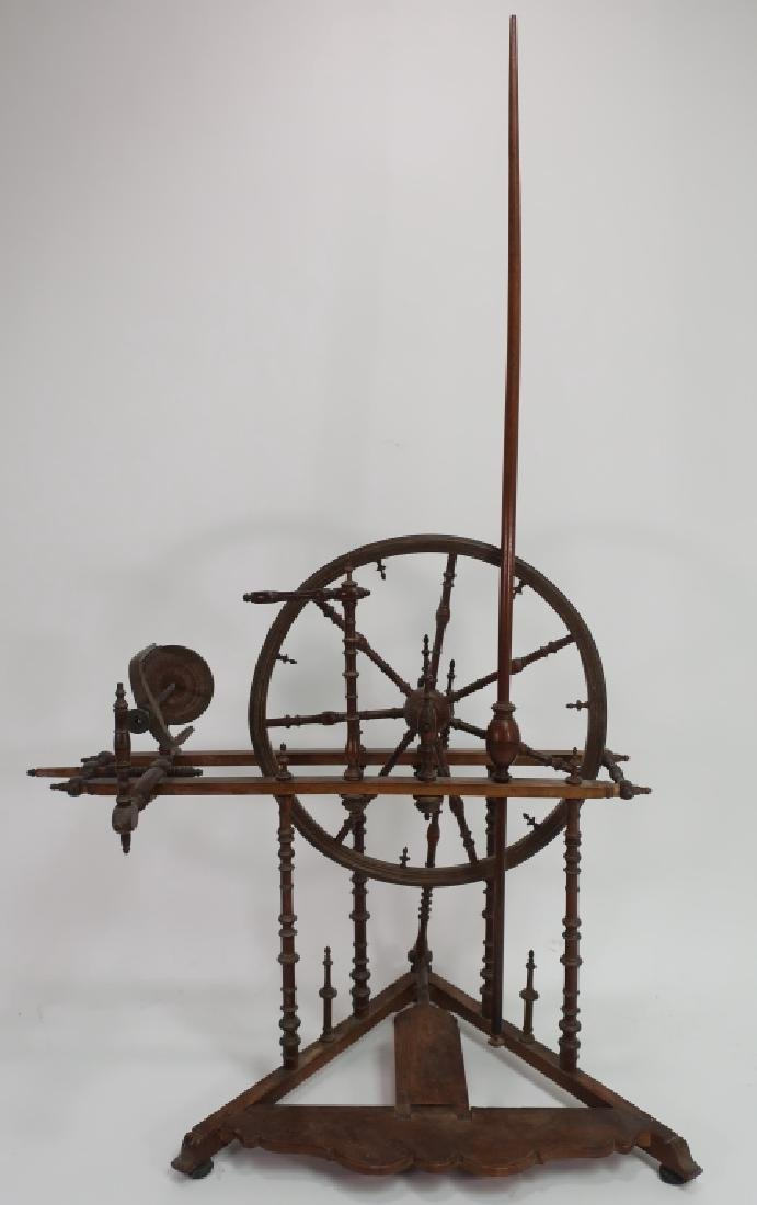 18th C. English Wood Turned Spinning Wheel