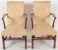 Pair of George III Mahogany Arm Chairs late 18th c