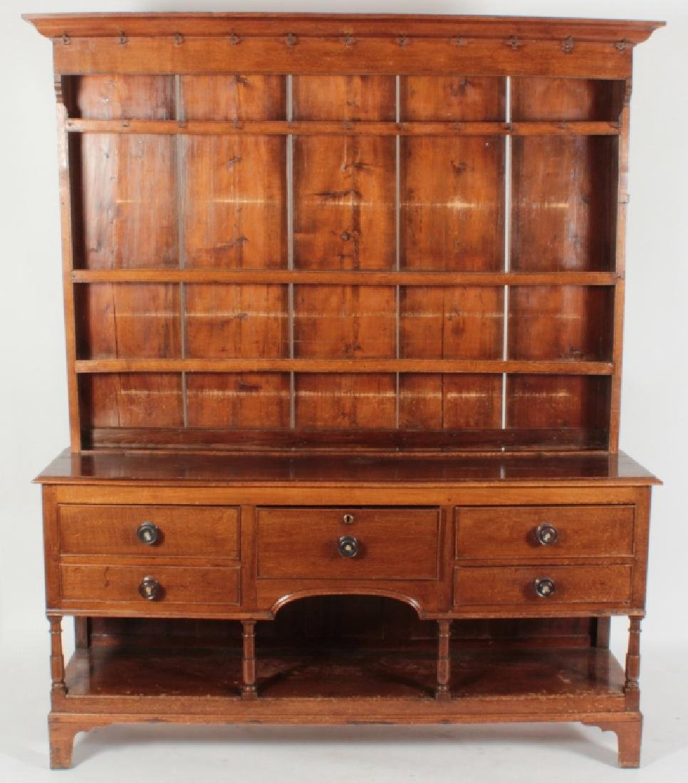 19th c. Welsh Cupboard, Oak  in 2 Parts