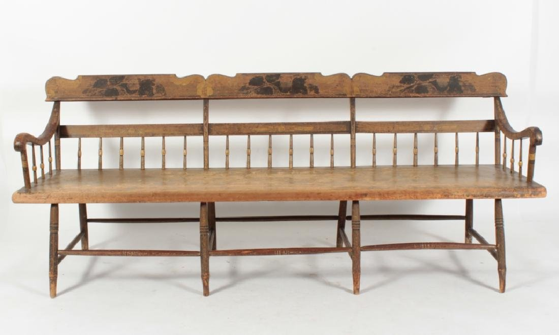 American Farm Long Bench with Old Paint, c. 1850