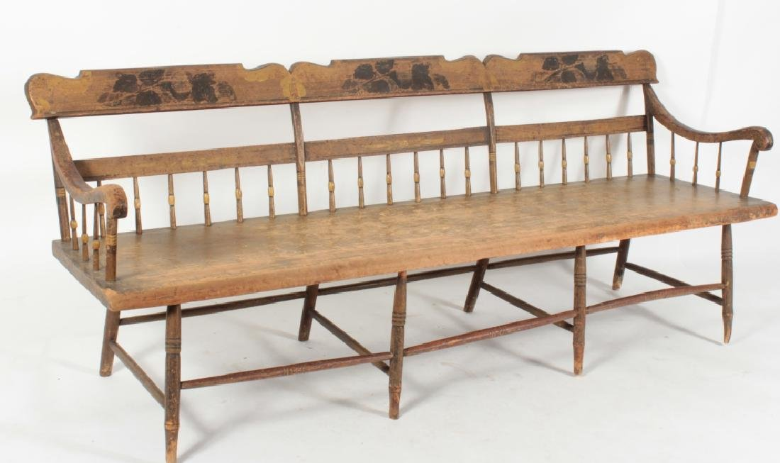 American Farm Long Bench with Old Paint, c. 1850 - 6
