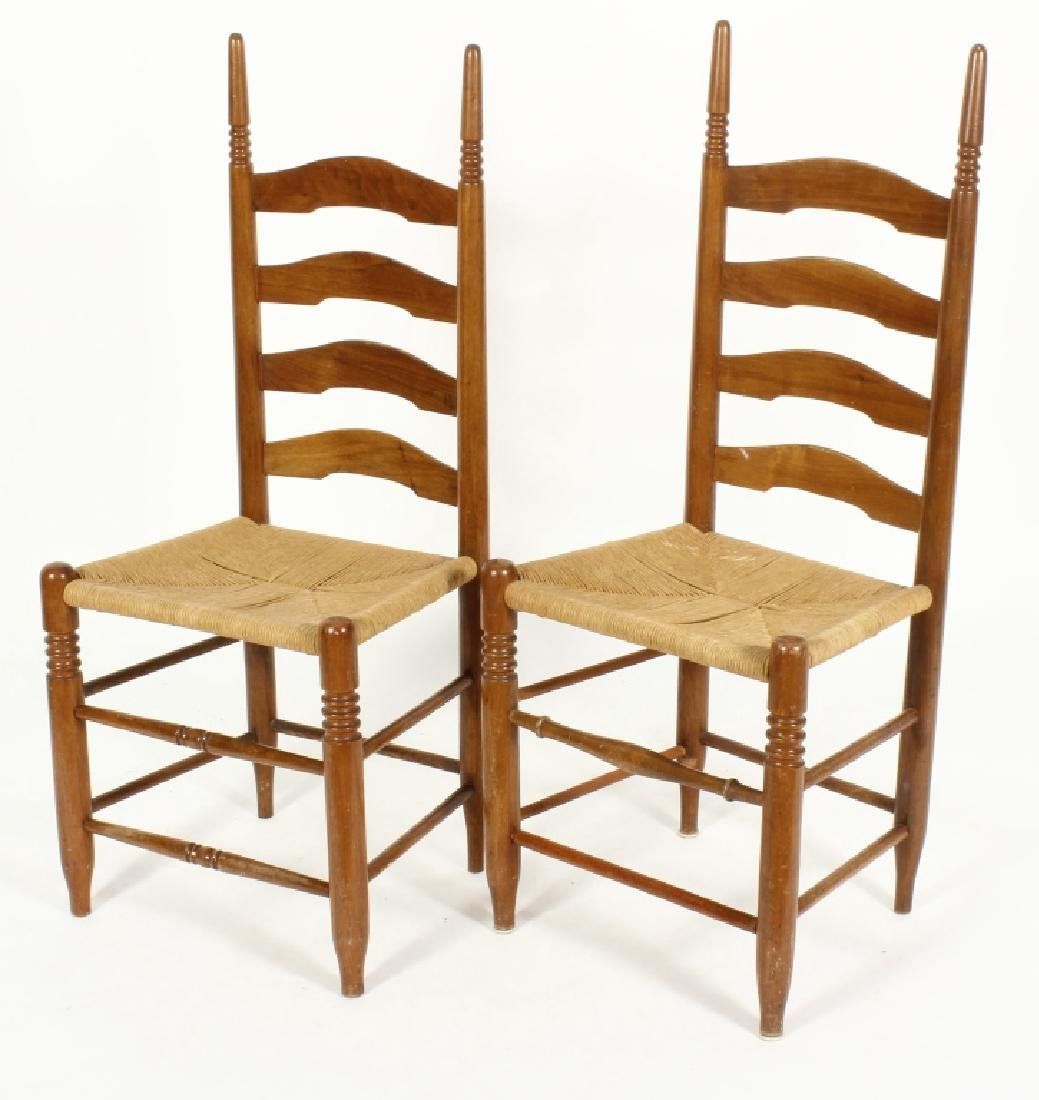 Near pair of Wood/Rush Wavy Ladder Back Chairs