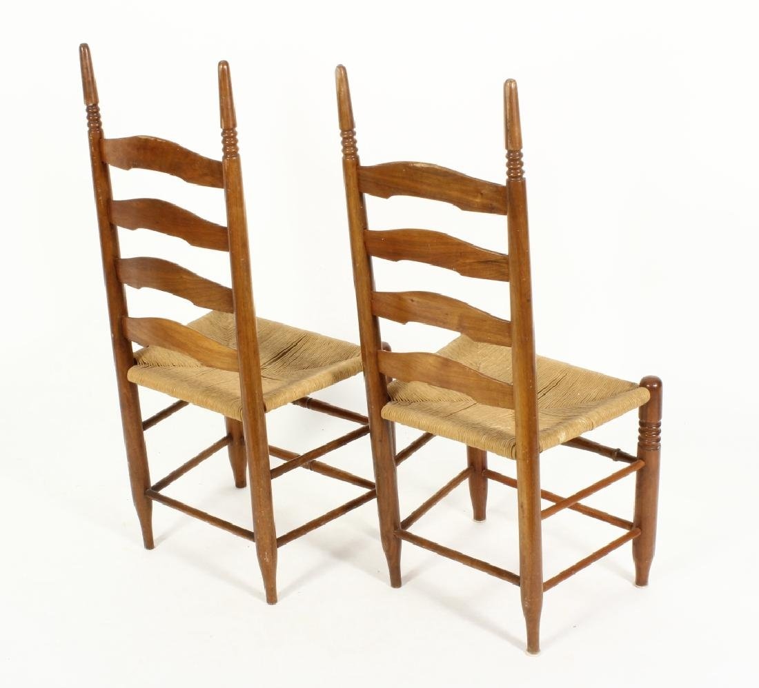 Near pair of Wood/Rush Wavy Ladder Back Chairs - 2
