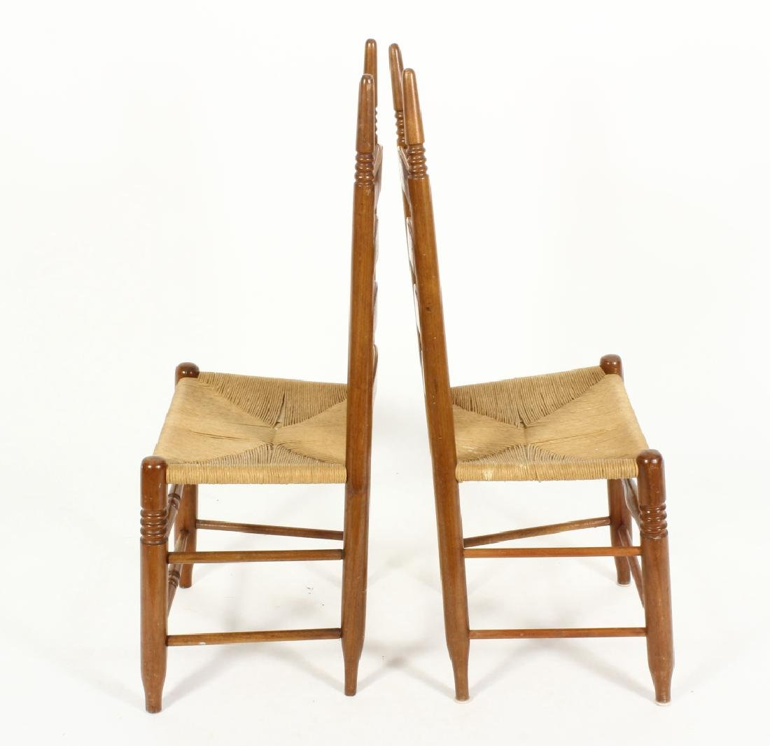 Near pair of Wood/Rush Wavy Ladder Back Chairs - 3