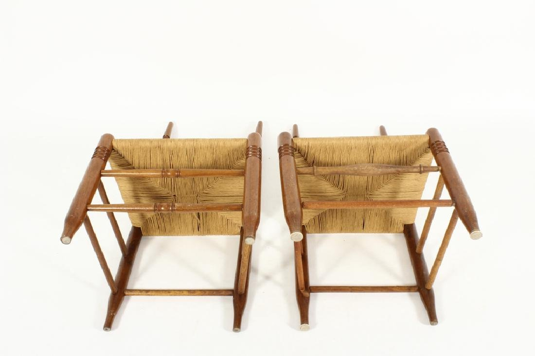 Near pair of Wood/Rush Wavy Ladder Back Chairs - 5