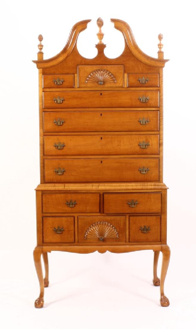 Chippendale Style Highboy Tiger Maple, 20th c.