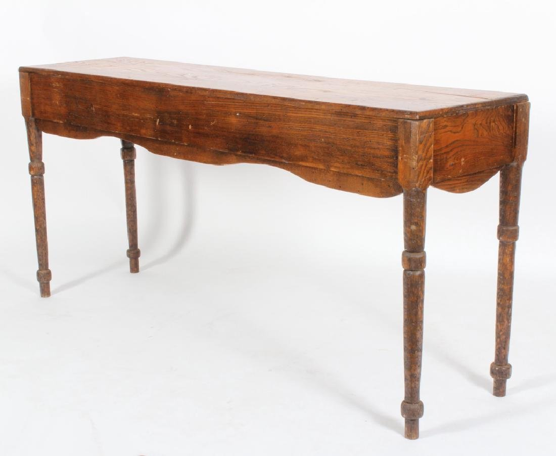 English Oak Console Table with Shaped Apron