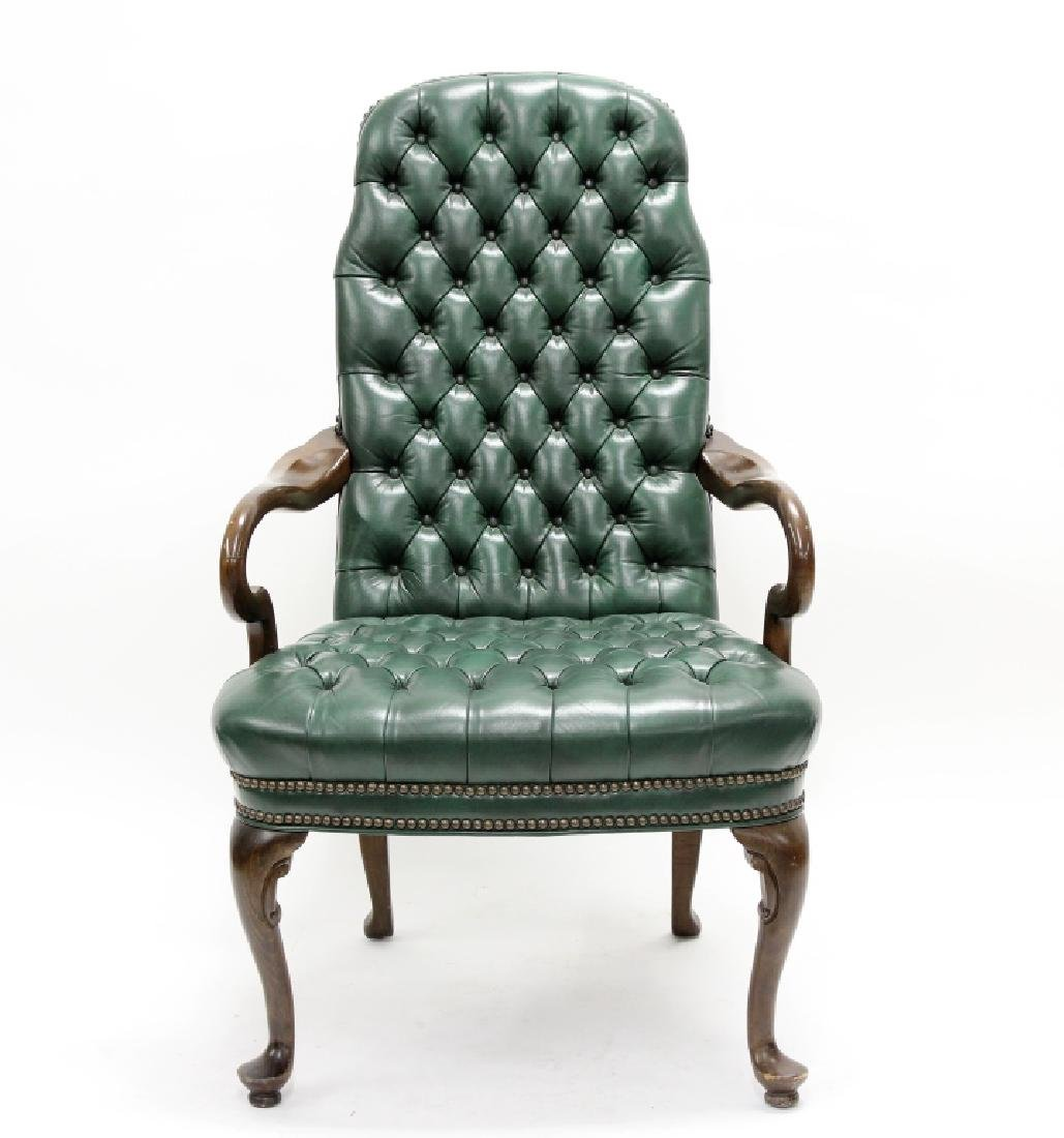 Ethan Allen Green Tufted Leather High Back Chair