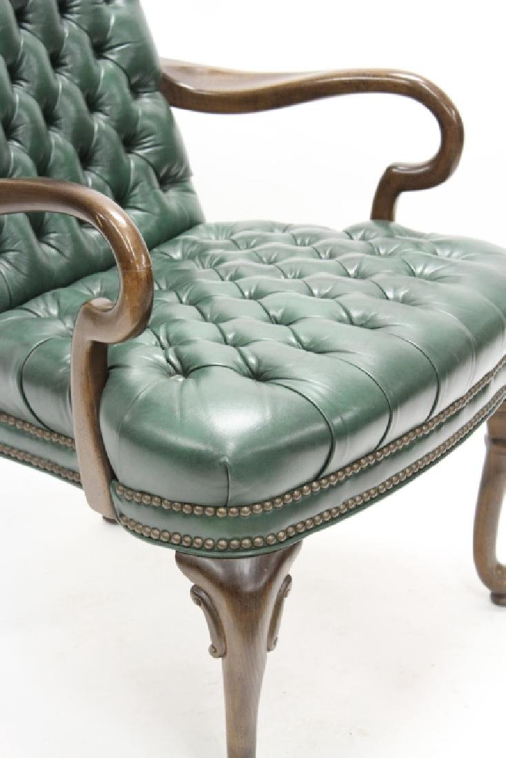 Ethan Allen Green Tufted Leather High Back Chair - 3