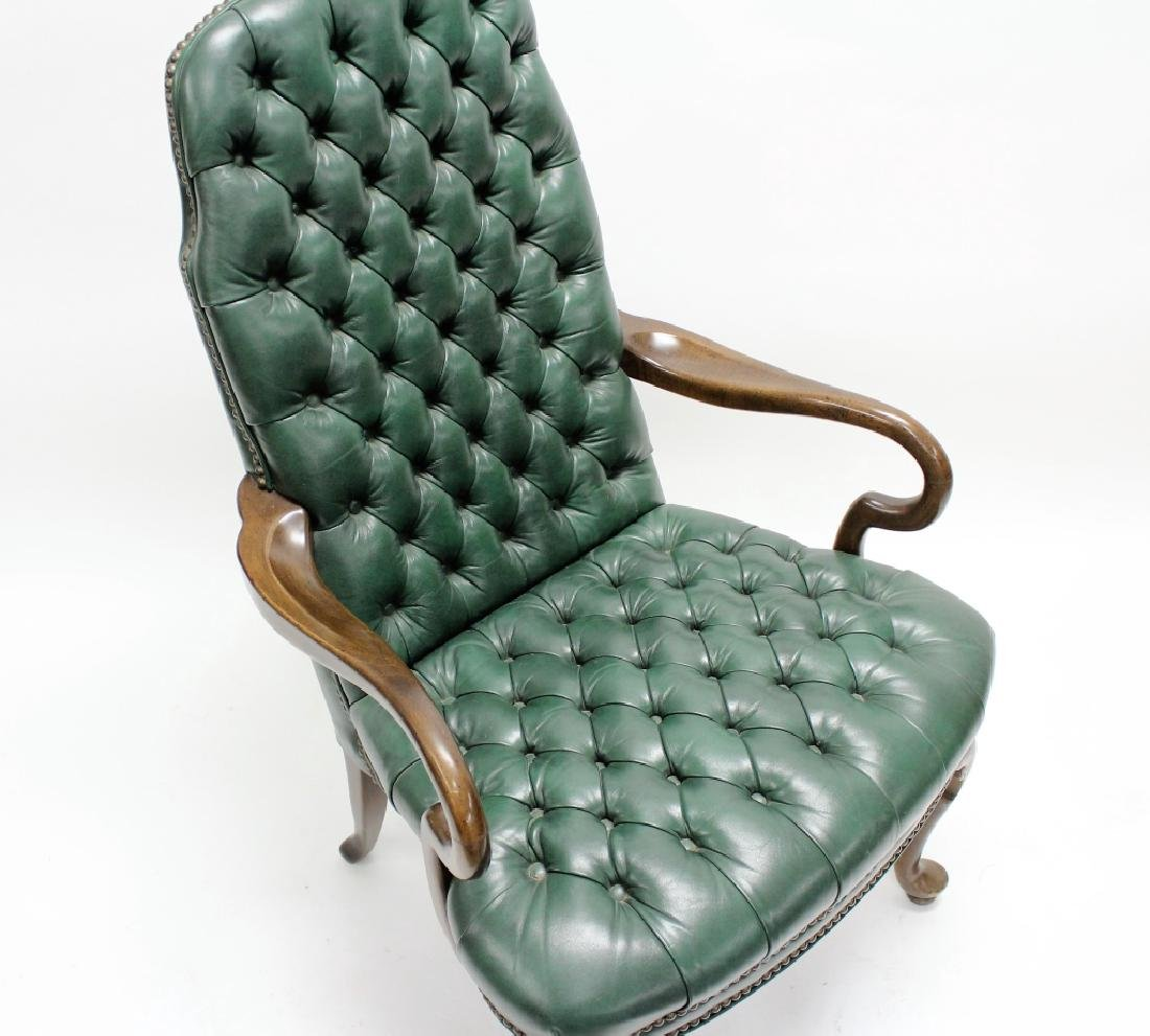 Ethan Allen Green Tufted Leather High Back Chair - 4