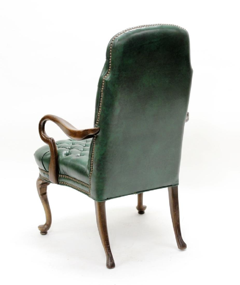 Ethan Allen Green Tufted Leather High Back Chair - 5