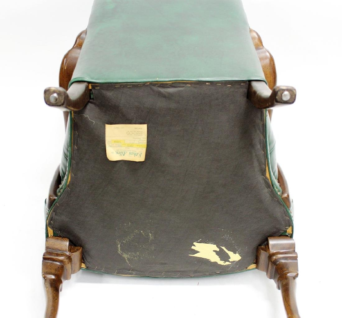 Ethan Allen Green Tufted Leather High Back Chair - 6