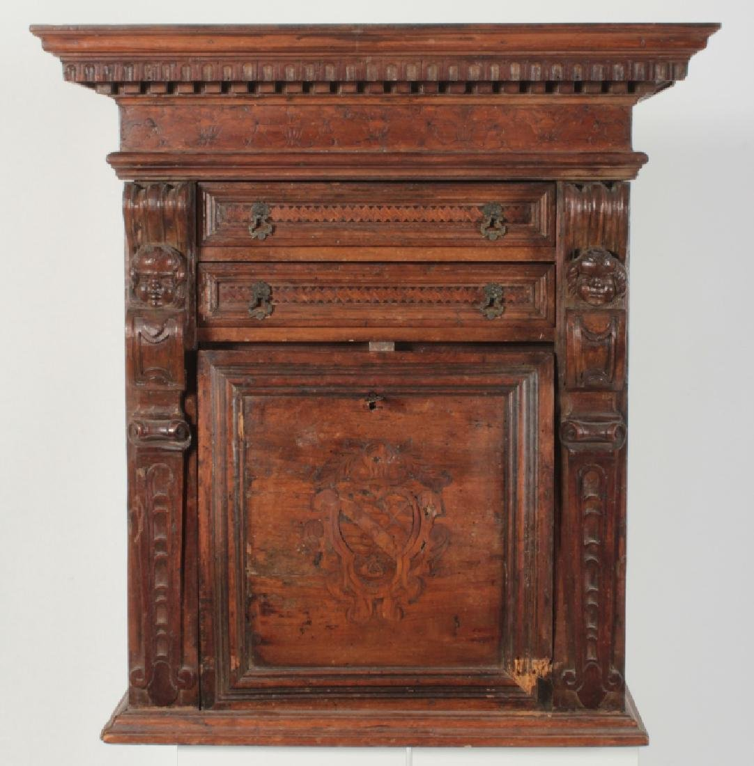 Italian Baroque Bambocci Walnut Writting Cabinet