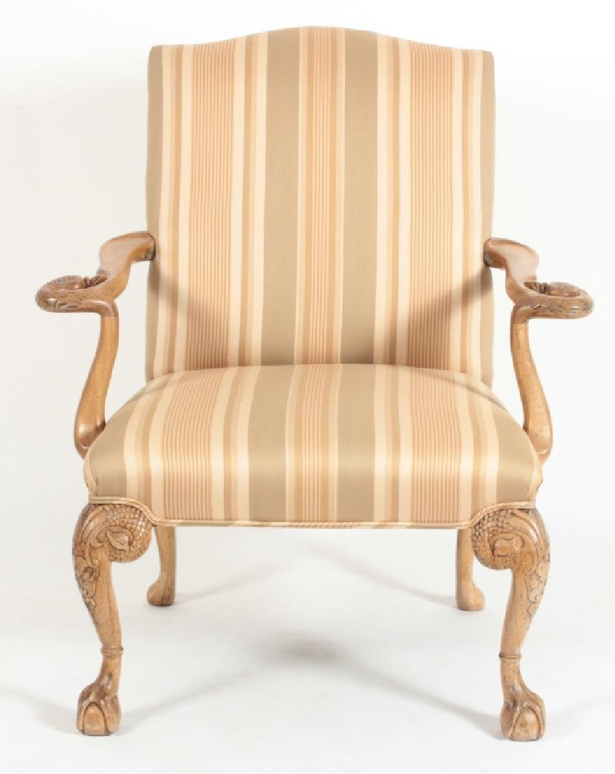 Swan-Carved Open Armchair with Striped Upholstery