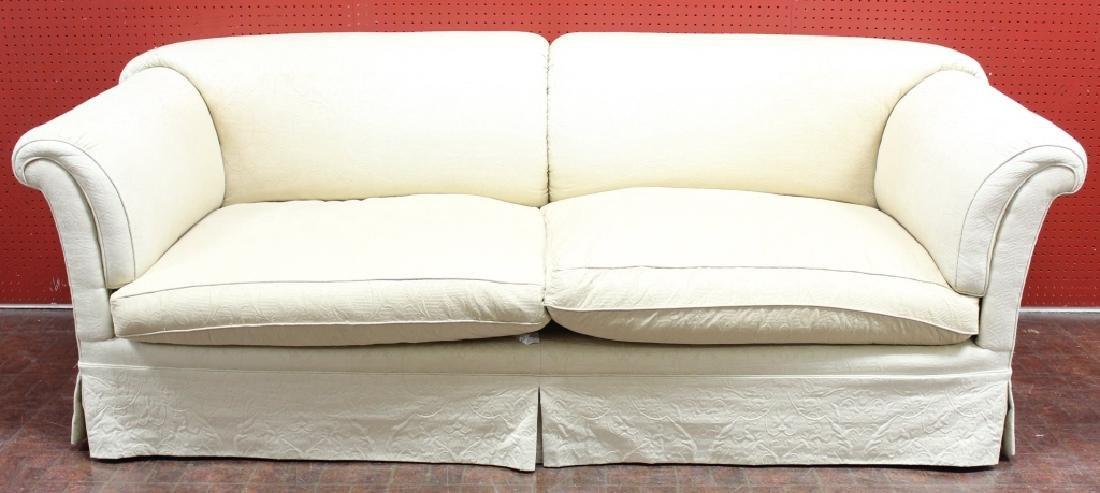 English-Style Roll Arm Sofa Cream Matelasse Sofa