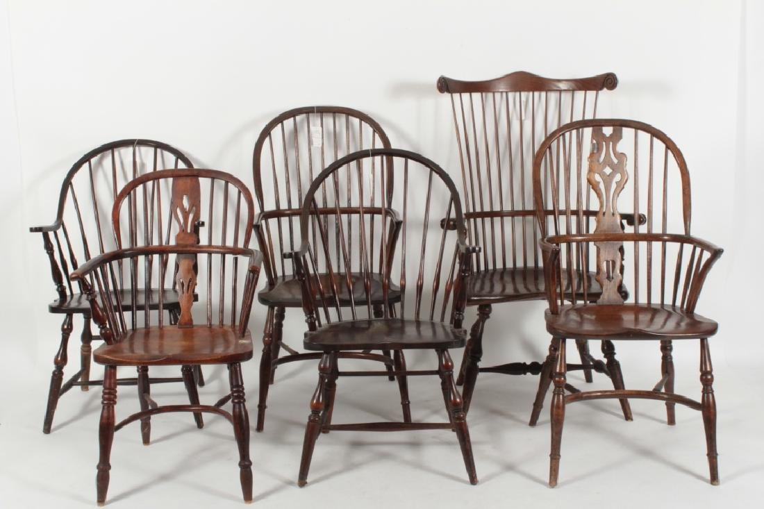 6 Various English Windsor Chairs, 20th C.