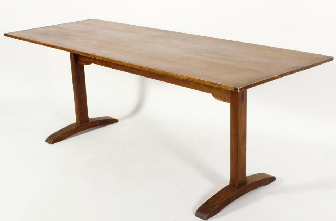 Pine Farm Table w Planked Top, 20th c.