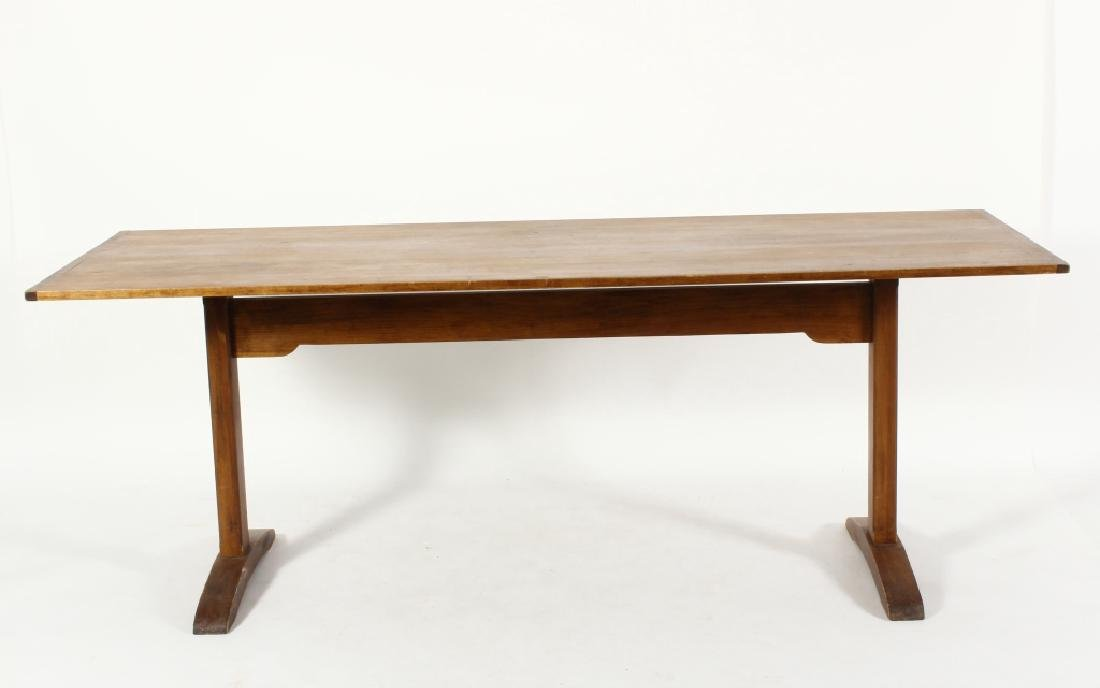 Pine Farm Table w Planked Top, 20th c. - 2