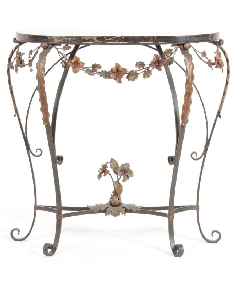 Black Veined Marble on Wrought Iron Console