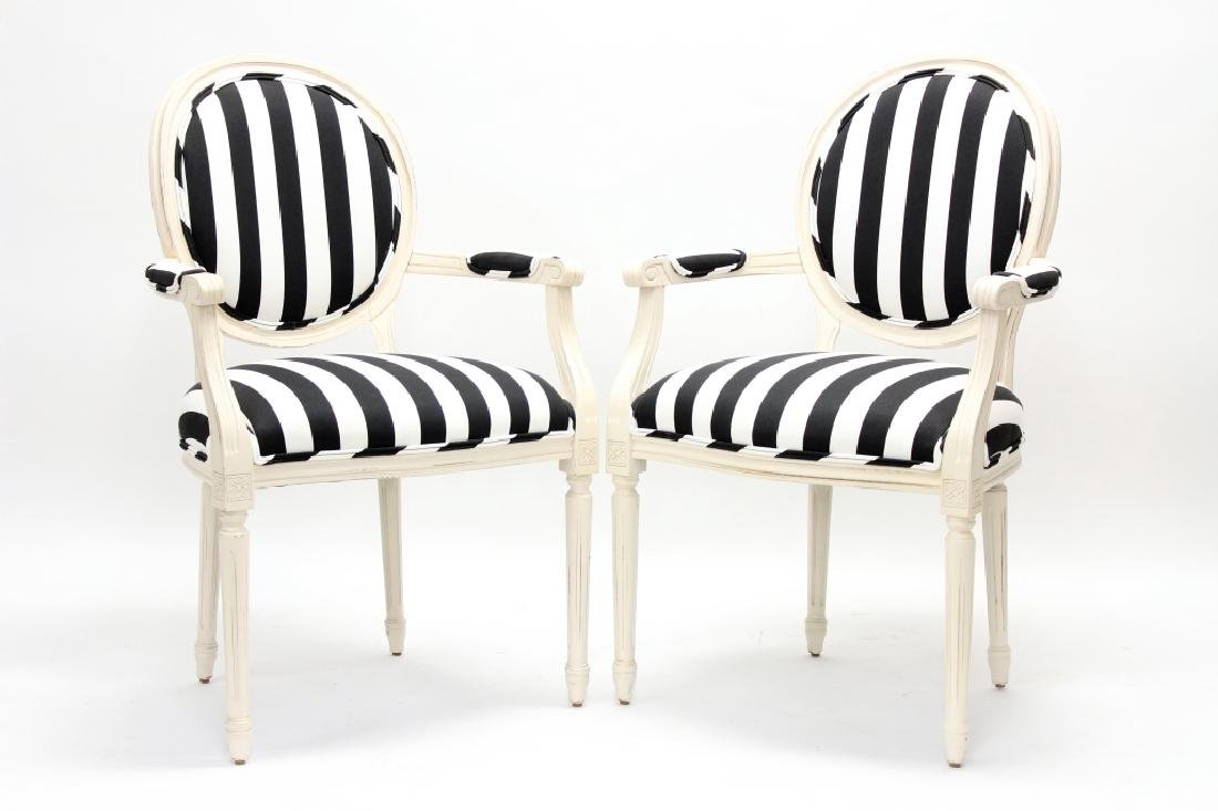 Pair French Louis XVI Style Fauteuil Chairs 20th c