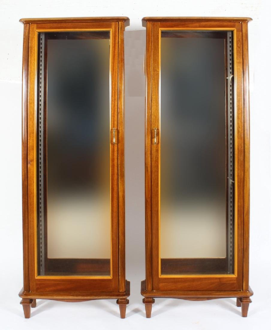 Pair of Exotic Wood Curio Cabinets, Mirrored Backs