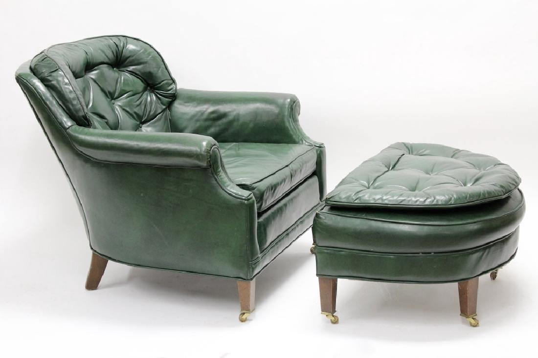 Ethan Allen Green Leather Club Chair & Ottoman