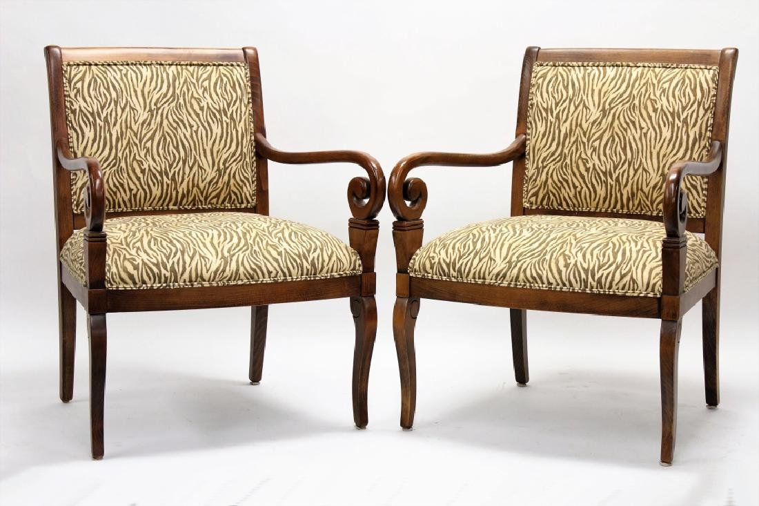 Pr of Ethan Allen Open Armchairs