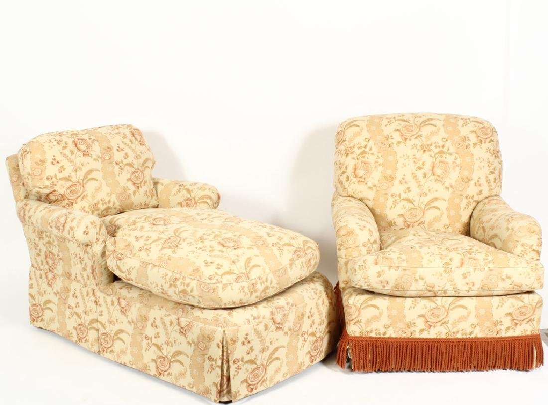 Upholstered Chaise Longue and Matching Armchair