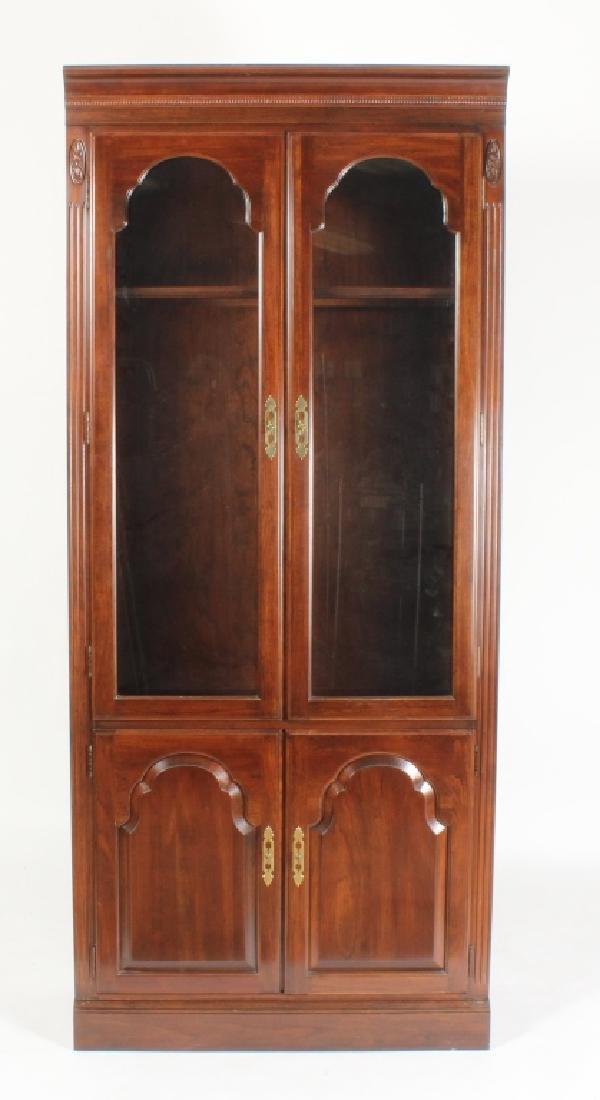 Ethan Allen Mahogany Curio Bookcase Cabinet