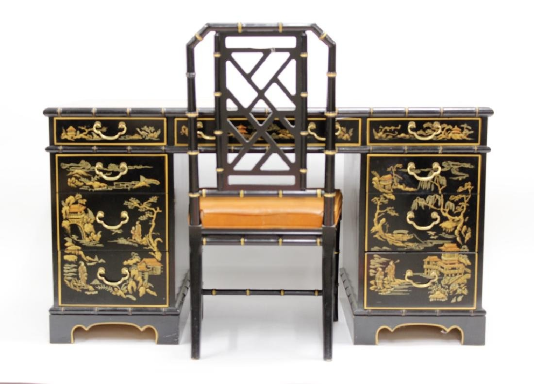 Ebonized  Faux Bamboo Chinoiserie Desk and Chair